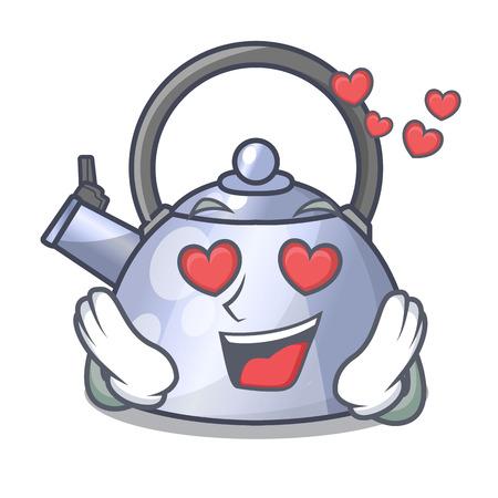 In liefde fluitende ketel cartoon op de kookplaat