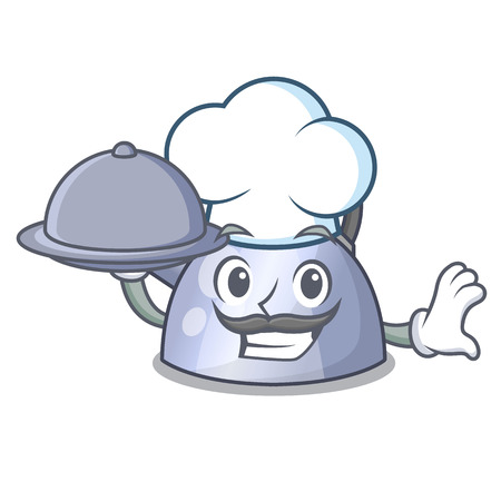 Chef with food whistling kettle cartoon on the stove top