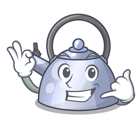 Call me stainless whistling tea kettle isolated on mascot vector illustration