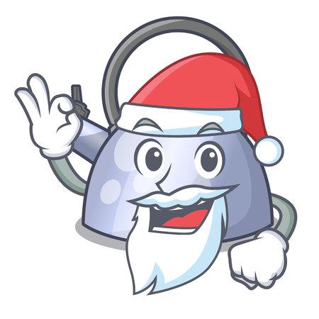 Santa stainless whistling tea kettle isolated on mascot vector illustration
