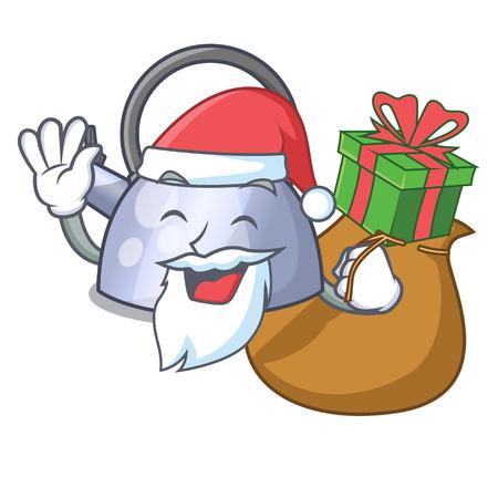 Santa with gift stainless whistling tea kettle isolated on mascot vector illustration Stock Illustratie