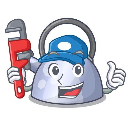 Plumber stainless whistling tea kettle isolated on mascot vector illustration Stock Illustratie