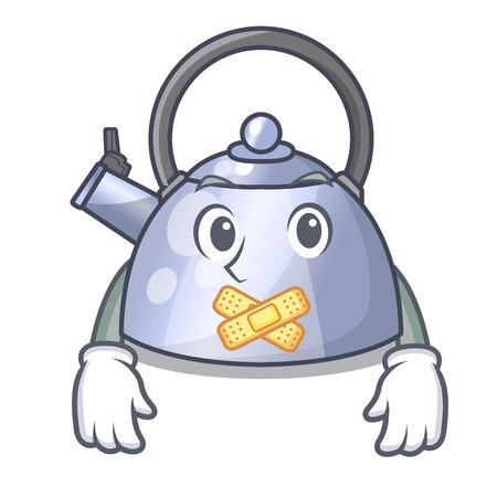Silent stainless whistling tea kettle isolated on mascot Stock Illustratie