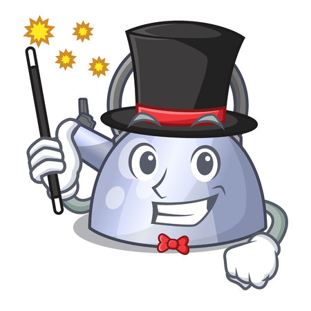Magician stainless whistling tea kettle isolated on mascot vector illustration