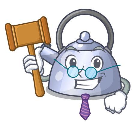 Judge stainless whistling tea kettle isolated on mascot vector illustration