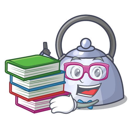 Student with book stainless whistling tea kettle isolated on mascot vector illustration