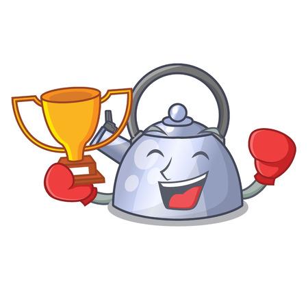 Boxing winner stainless whistling tea kettle isolated on mascot vector illustration Stock Illustratie