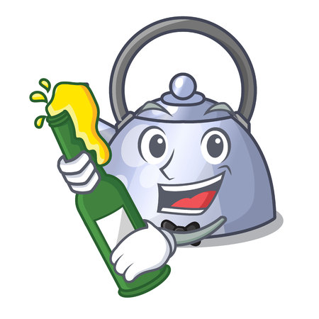 With beer stainless whistling tea kettle isolated on mascot vector illustration Vettoriali