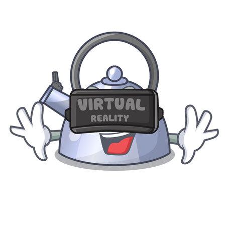 Virtual reality fluitende waterkoker cartoon op de kookplaat