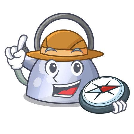 Explorer fluitende ketel cartoon op de kookplaat