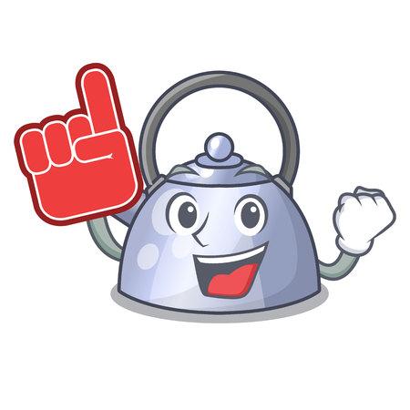 Foam finger stainless whistling tea kettle isolated on mascot vector illustration