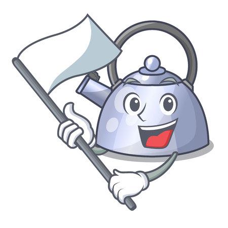 Met vlag RVS fluitende waterkoker geïsoleerd op mascotte vectorillustratie
