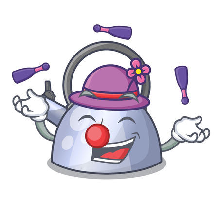 Juggling stainless whistling tea kettle isolated on mascot vector illustration