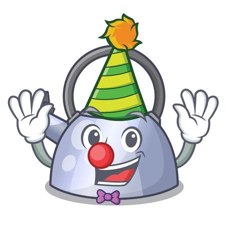 Clown stainless whistling tea kettle isolated on mascot vector illustration Stock Illustratie