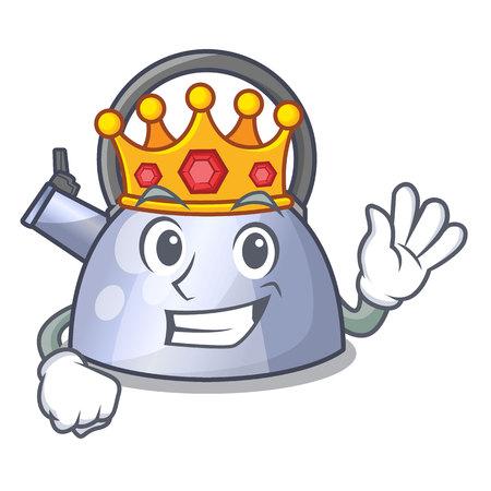 Koning RVS fluitende theeketel geïsoleerd op mascotte vectorillustratie
