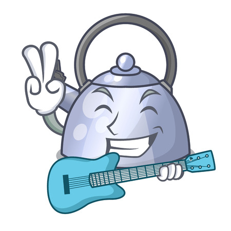 With guitar whistling kettle cartoon on the stove top