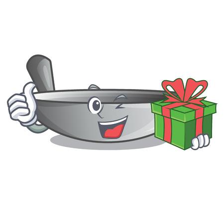 With gift cartoon wok on the kitchen utensil vector illustration