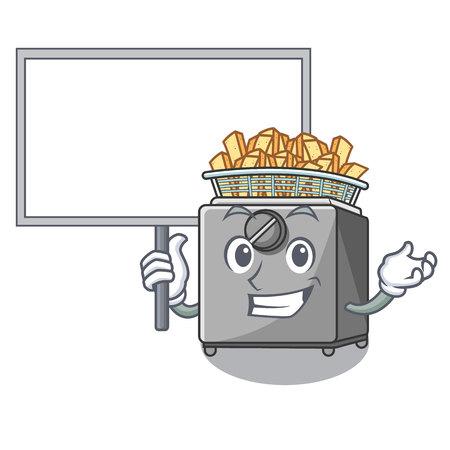 Bring board cartoon deep fryer in the kitchen vector illustration Illustration