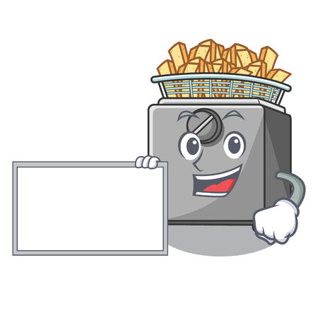 With board cartoon deep fryer in the kitchen vector illustration