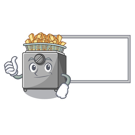Thumbs up with board cartoon deep fryer in the kitchen Illustration