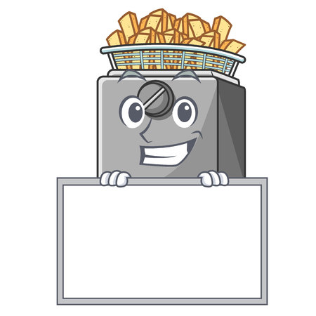 Grinning with board cartoon deep fryer in the kitchen Illustration