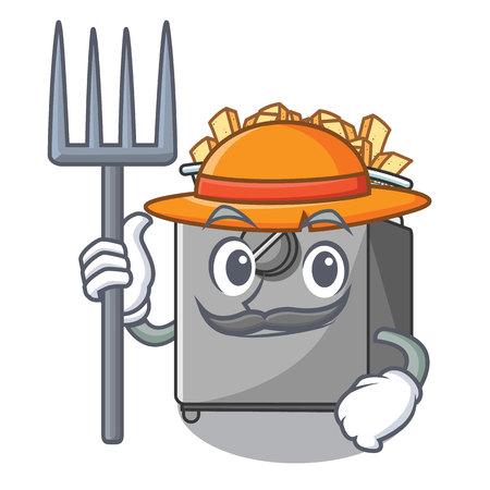 Friteuse de dessin animé fermier dans la cuisine
