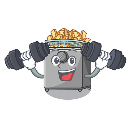 Fitness cartoon deep fryer in the kitchen