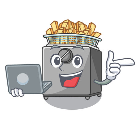 With laptop cartoon deep fryer in the kitchen Stock Photo