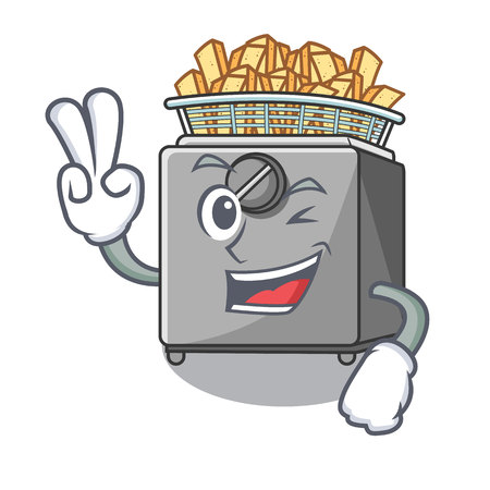 Two finger character deep fryer on restaurant kitchen Illustration
