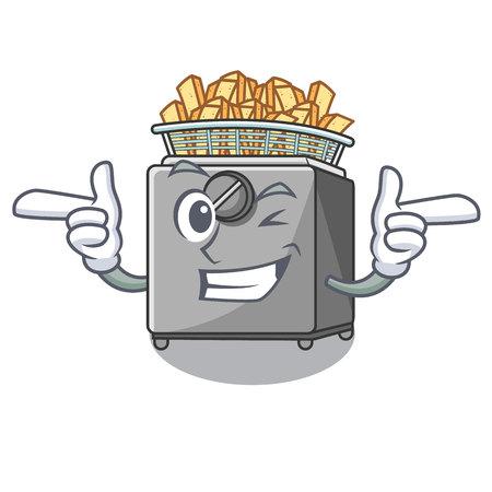Wink character deep fryer on restaurant kitchen