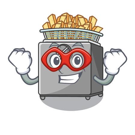 Super hero character deep fryer on restaurant kitchen