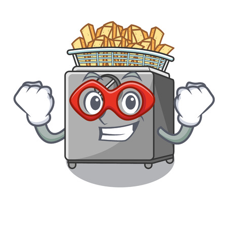 Super hero character deep fryer on restaurant kitchen