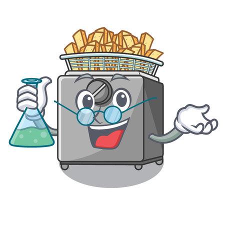 Professor character deep fryer on restaurant kitchen vector illustration