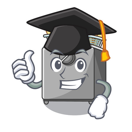 Graduation character deep fryer on restaurant kitchen vector illustration