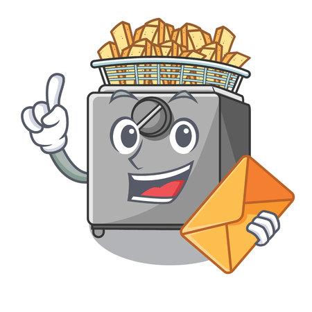 With envelope character deep fryer on restaurant kitchen vector illustration
