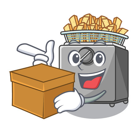 With box character deep fryer on restaurant kitchen vector illustration Illustration