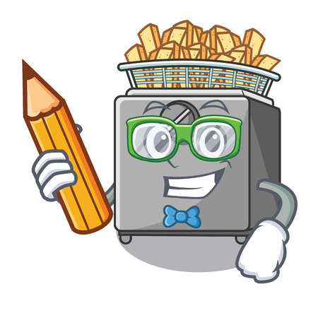 Student with book character deep fryer on restaurant kitchen vector illustration