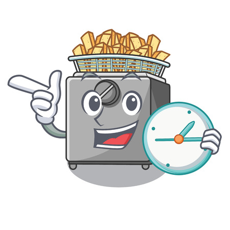 With clock character deep fryer on restaurant kitchen vector illustration