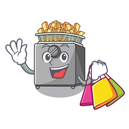 Shopping character deep fryer on restaurant kitchen vector illustration