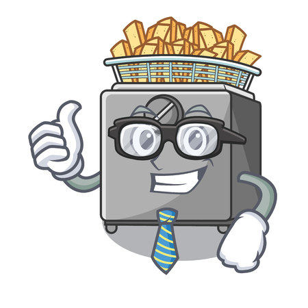 Businessman character deep fryer on restaurant kitchen vector illustration