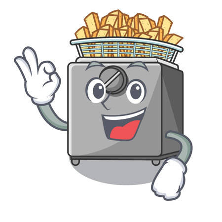 Okay character deep fryer on restaurant kitchen vector illustration Illustration