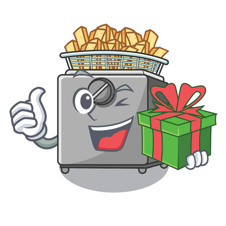 With gift cooking french fries in deep fryer cartoon vector illustration