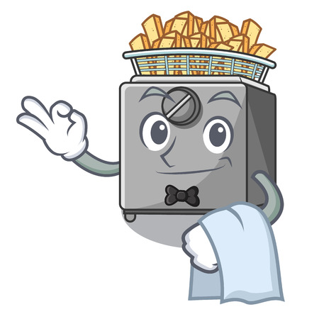 Waiter cooking french fries in deep fryer cartoon vector illustration