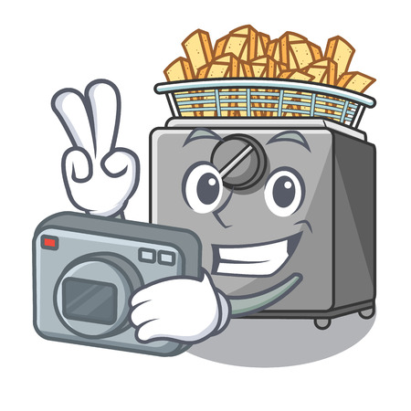 Photographer cooking french fries in deep fryer cartoon vector illustration