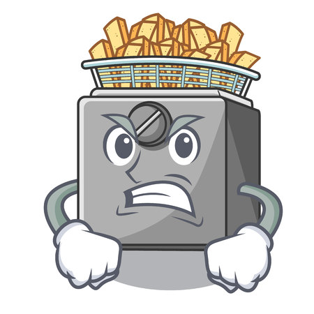 Angry cooking french fries in deep fryer cartoon vector illustration