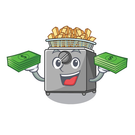With money cooking french fries in deep fryer cartoon vector illustration
