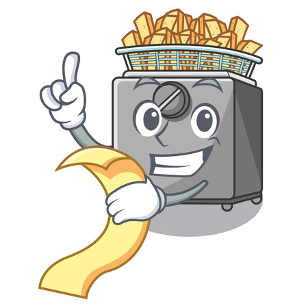With menu cooking french fries in deep fryer cartoon vector illustration Illustration