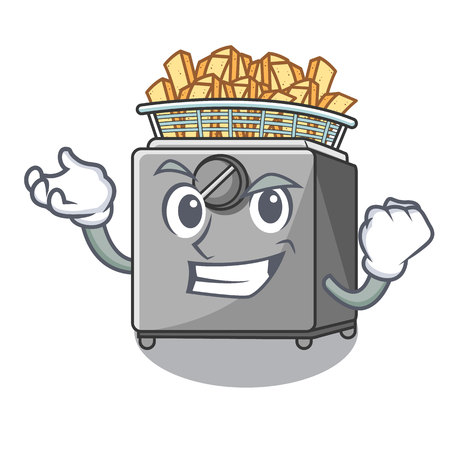 Successful character deep fryer on restaurant kitchen vector illustration