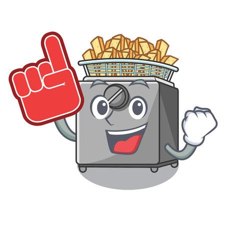 Foam finger deep fryer machine isolated on mascot vector illustration