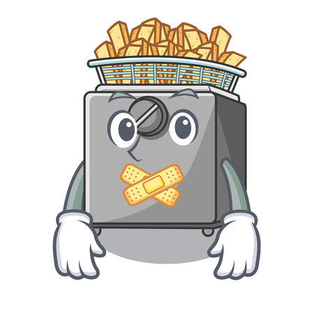 Silent deep fryer machine isolated on mascot Illustration